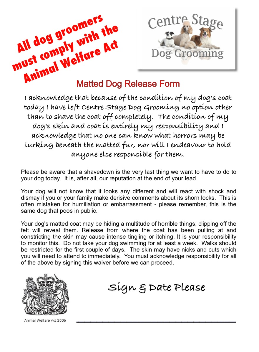 Matted Dog Release Form